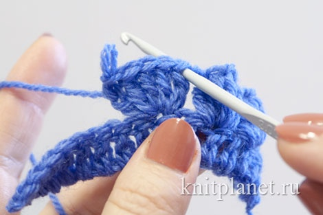 Popcorn Stitch - We insert our crochet hook into the first double crochet stitch of the five