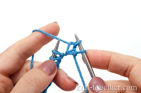 Granny's knit stitch: Drop a new stitch off on the right needle.