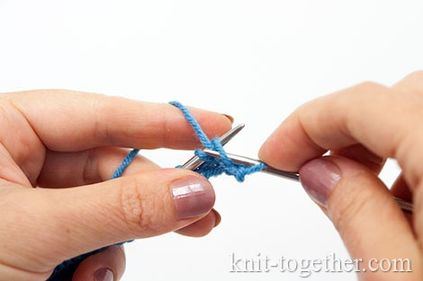 Granny's purl stitch: Catch the working yarn with your right needle (the right needle shall move counterclockwise).