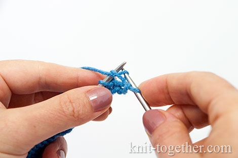Granny's purl stitch: Pull a new stitch into the stitch on the right needle in a bottom-up motion.