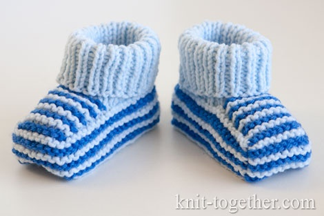 Baby boy knitted booties free pattern