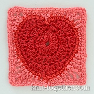 "Crochet Square Motif ""Heart"""