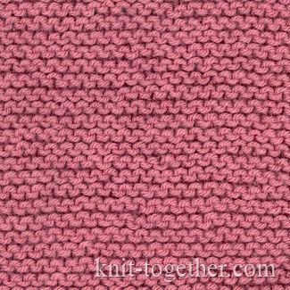 Knit And Purl Stitches Patterns : Knit Together Garter Stitch with needles and knitting pattern chart. Simple...