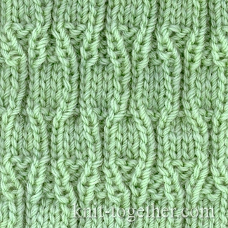 Textured Knitting Stitches : Knit Together Skittles Relief Pattern, knitting pattern chart, Textured Sti...