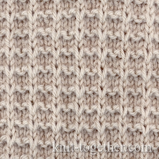 Knit Together Square Stitch Pattern of Loop Stitches, knitting pattern char...