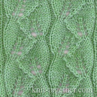 Knitting Stitch Together : Knit Together Leaves Pattern, knitting pattern chart, Eyelet and Lace Stitc...