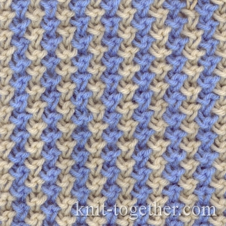 Color Knitting Patterns : Knit Together Two-Color Pattern 1 with needles, knitting pattern chart, col...