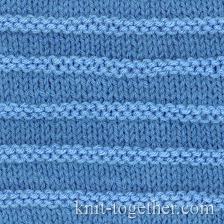 Knit And Purl Stitches Patterns : Knit Together Purl Stripes with needles and knitting pattern chart. Simple ...