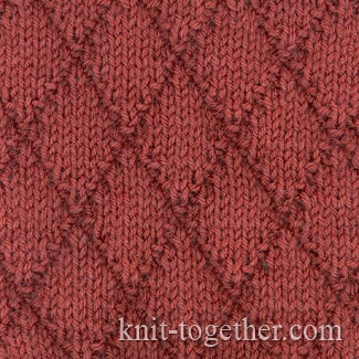 Knit Together Diamonds Pattern 1 with needles, Knitting Patterns Chart, Squ...