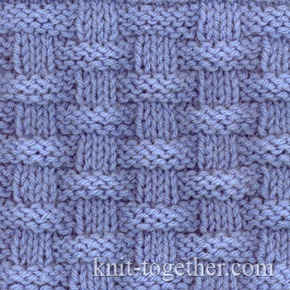 Knit Together Basket (Wicker) Stitch Pattern 2, knitting pattern chart, Squ...