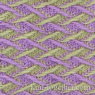 Color Knitting Patterns : Knit Together Two-Color Pattern 3, knitting pattern chart, color knitting s...