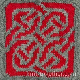Jacquard Knitting Patterns : Knit Together Celtic Knot Jacquard Pattern with needles, knitting pattern c...