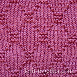 Knit Together Diamond Stitch Pattern 2, knitting pattern chart, Squares, Di...