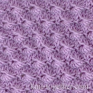 Knit Together Shells Stitch Pattern, knitting pattern chart, Textured Stitc...