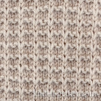 Slip Stitch Knit Squares Together : Knit Together Square Stitch Pattern of Loop Stitches, knitting pattern char...