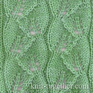 Knit Leaves Pattern : Knit Together Leaves Pattern, knitting pattern chart, Eyelet and Lace Stitc...