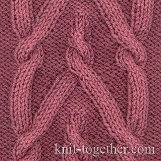 Knit Together Plait Pattern 3, knitting pattern chart, Cable and Twisted St...